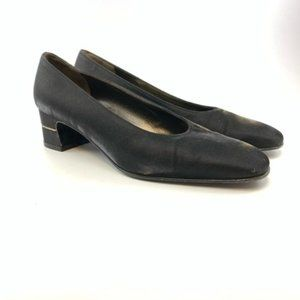 Salvatore Ferragamo vintage black satin pumps